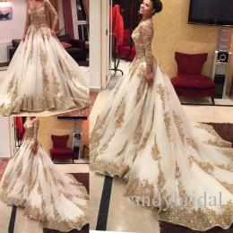 f6dcc0dea2a6 Cinderella Muslim Two Pieces Wedding Dress Arabic A-Line Gold Lace Luxury Long  Sleeves Chapel Train Vintage Bridal Dresses 2016
