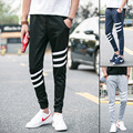 2016 High Fashion Men's Casual Skinny Track Pants Black/gray/navy Tracksuit Trousers Solid Hip Hop Sweatpants Trousers Pants