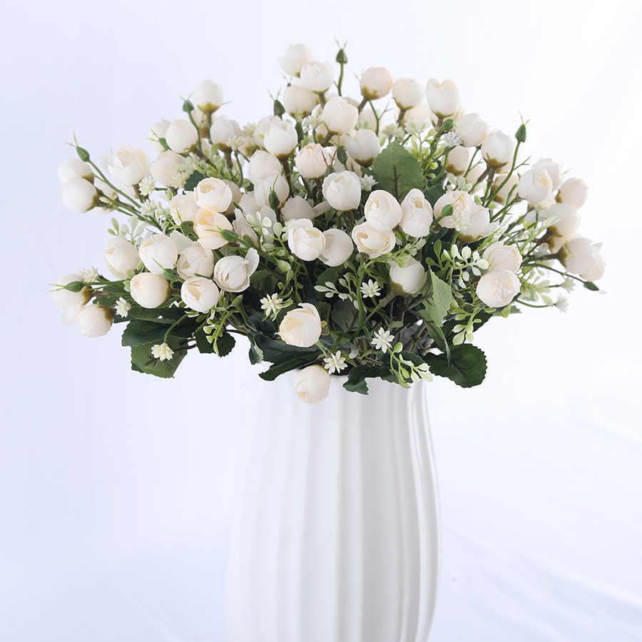 أبيض صغير الحرير روز الزهور الاصطناعية للزينة الزفاف العروس ورد صناعي باقة ديكور للمنزل سهل التركيب الفن اكسسوارات ل زهرية زهور مجففة واصطناعية Aliexpress