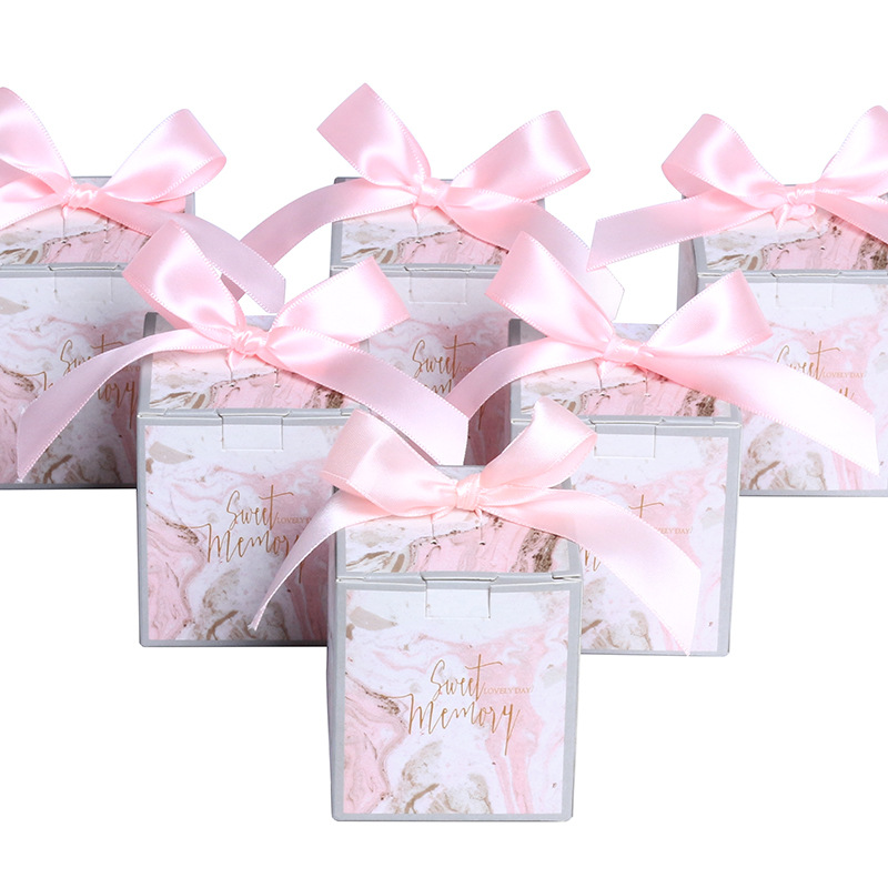 Pink Marble Style Wedding Favors Decoration Gifts Candy Boxes With Ribbon Paper Packing Box Baby Shower Wedding Party Supplies