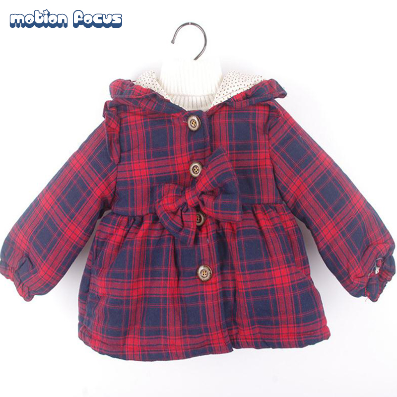2016 Children's Winter Wadded Coat Girls Jacket Cotton-padded Coats Thick Warm Outwear Hooded Trench Coat For Kid Girls