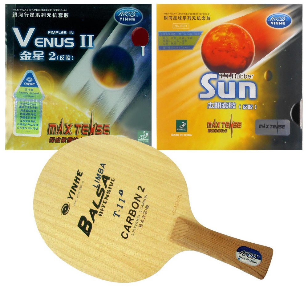 Pro PingPong Combo Racket Galaxy YINHE T-11+ with Sun Factory Tuned and Venus-II Rubber With MAX Tense Sponge Long Shakehand FL pro table tennis pingpong combo racket palio tct with galaxy yinhe sun and moon rubber with sponge factory tuned