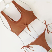 OULING Multi String Bikini Tank Crop Top Badeanzug Frauen Gebunden bikinis Push Up Biquini Bademode Zwei stück Weiblich Strand tragen
