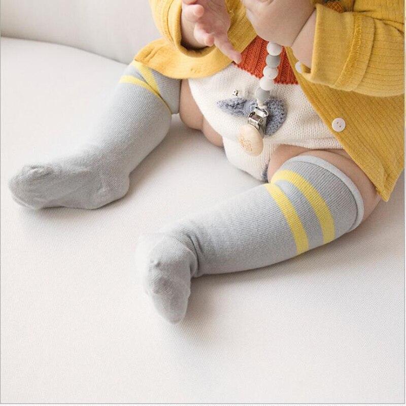 Baby Favorite Knee High Socks Girls Boys Soft Cotton Long Knee Socks Stripe Fashion Newborn Baby Floor Wear Leg Warmers Clothes