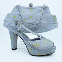 Fashion Charming African Shoe And Bag Set For Party In Women,CP63009 Silver Color Shoes Matching Clutch Bag With Rhinestones