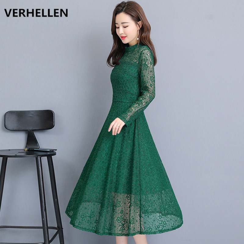 VERHELLEN High Quality Fashion Designer Runway Maxi Long Dress 2019 Spring Women's Long Sleeve O Neck Hollow Out Lace Dresses-in Dresses from Women's Clothing    1
