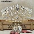 Grande de lujo de Boda Del Desfile de la corona de la Tiara con arete de oro Crystal Bridal pageant Corona y tiaras para las mujeres