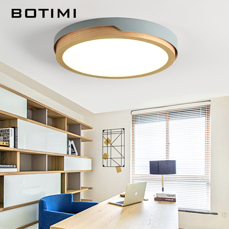 BOTIMI 220V LED White Round Ceiling Lights Nordic Style Surface Mounted Bedroom Lamp Living Room Wooden Kitchen Lighting Fixture-in Ceiling Lights from Lights & Lighting