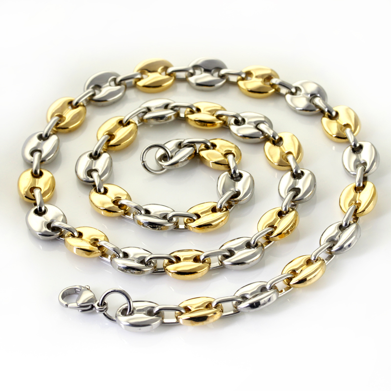 Wholesale Retail! 56cm*10.6mm 83.5g Stainless Steel Silver Gold color Link Chains Neklace Men/ Boy, Lowest Price Best Quality