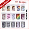 100 Projetos (100 pçs/lote) Nail Art Transferência Folha Autocolante Flor Dos Desenhos Animados Prego Foils Decalques Polonês, Prego Elegante Ferramentas de decoração