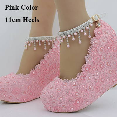 2019 Beautiful Lace Flower Bride Shoes Buckle Straps Wedding Party Shoes 4 Inches Wedge Heel Bridesmaid Shoes Size 102019 Beautiful Lace Flower Bride Shoes Buckle Straps Wedding Party Shoes 4 Inches Wedge Heel Bridesmaid Shoes Size 10