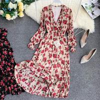 2019 New Korean Women's Sweet Print Flower Sexy V neck Stretch Waist Slimming Dress Maxi Long Boho Chiffon Dresses Summer Female