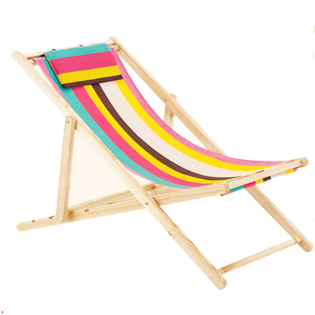 outdoor wooden beach chair canvas folding portable loungers adjustable indoor leisure chair lunch lounge nap patio 100 53 88cm in fishing chairs from