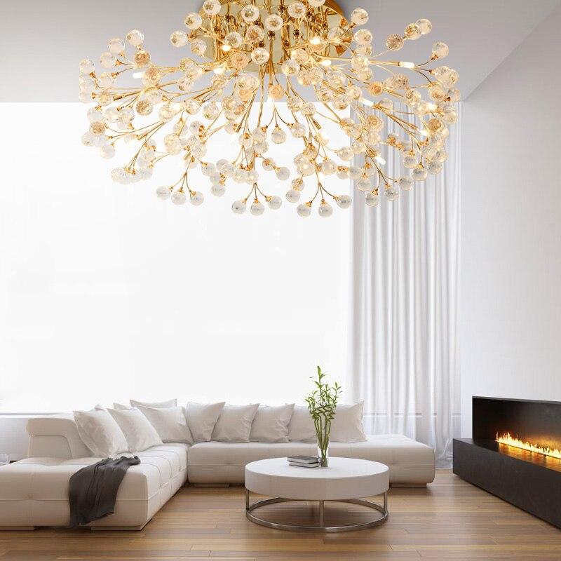 Люстры потолочные лампы освещения свет кристалл светило для Гостиная круговой обеденный жизни светодиодное освещение золото/серебро цвет