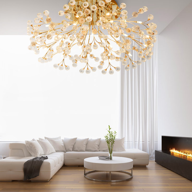 Chandeliers Ceiling Lamp Lighting Light Crystal Luminary For Living Room Circular Dining Living Led Lighting Gold/Silver Flower