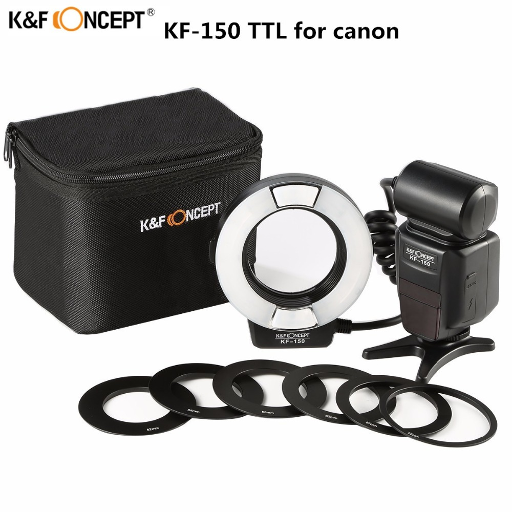 Mais novo k & f conceito KF-150 flash speedlite slave mestre ttl speedlight com refletor para canon 6d 600d 550d 70d 5d dslr câmera