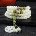 Original White Jade Buddha Beads Rosary 108 Hand Root Ivory Fruit Oupian Bodhi Seed Bracelet