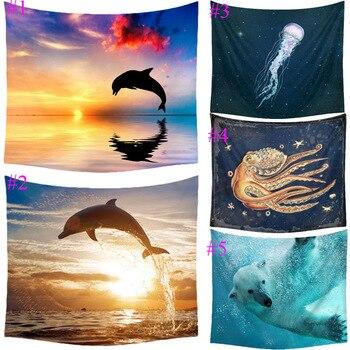 Comwarm Dolphin Ocean Animal Pattern Tapestry Beach Throw Towel Yoga Rug Wall Hanging Gobelin Minimalist Warmth Home Decor Craft