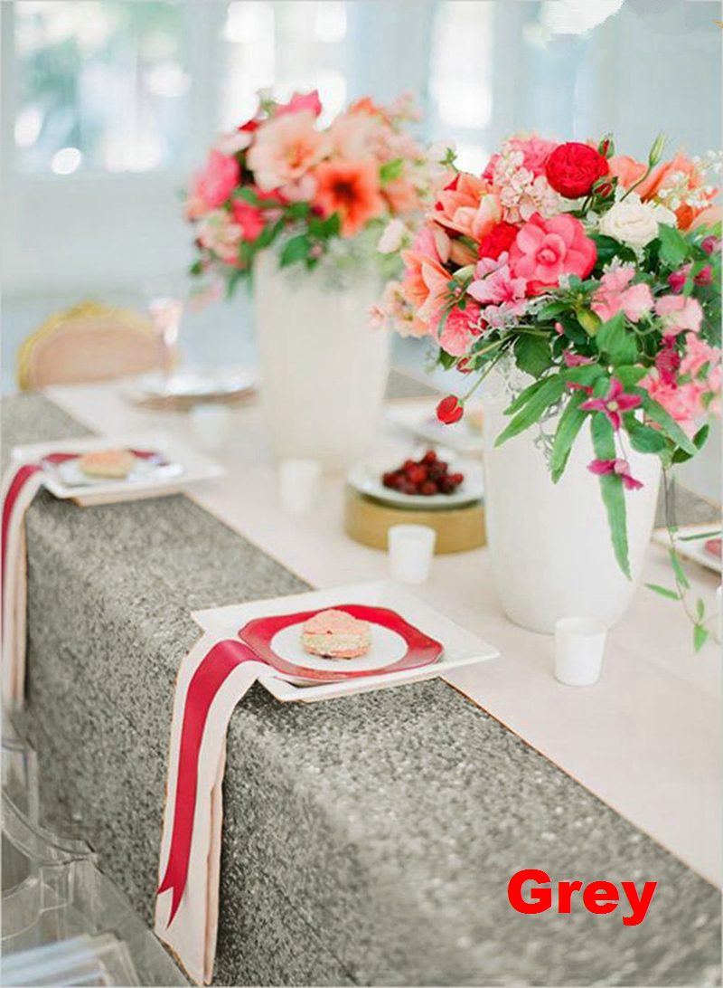 60X102in Grey Sequin Tablecloth Rectangular Glitter Embroidered Sequin Tablecover for Wedding Party Christmas Banquet Decor 63 in Tablecloths from Home Garden