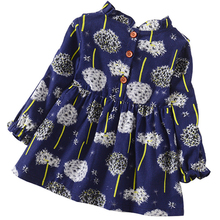 Kids Girls Long Sleeve Dresses Floral Clothes
