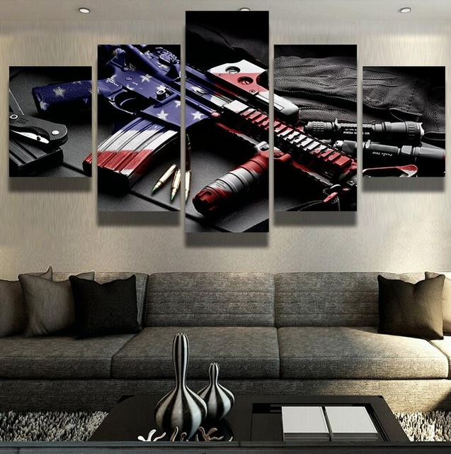 5 piece Canvas Art American Flag Soldier Warfare Posters and HD Prints Home Decorations Wall Pictures & 5 piece Canvas Art American Flag Soldier Warfare Posters and HD ...