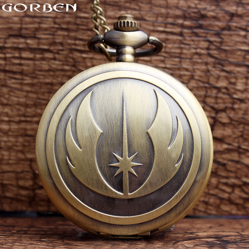 Antique Bronze Star Wars Pocket Watch Vintage Necklace Watch With Chain Pendant For Women Men Dropship Gift