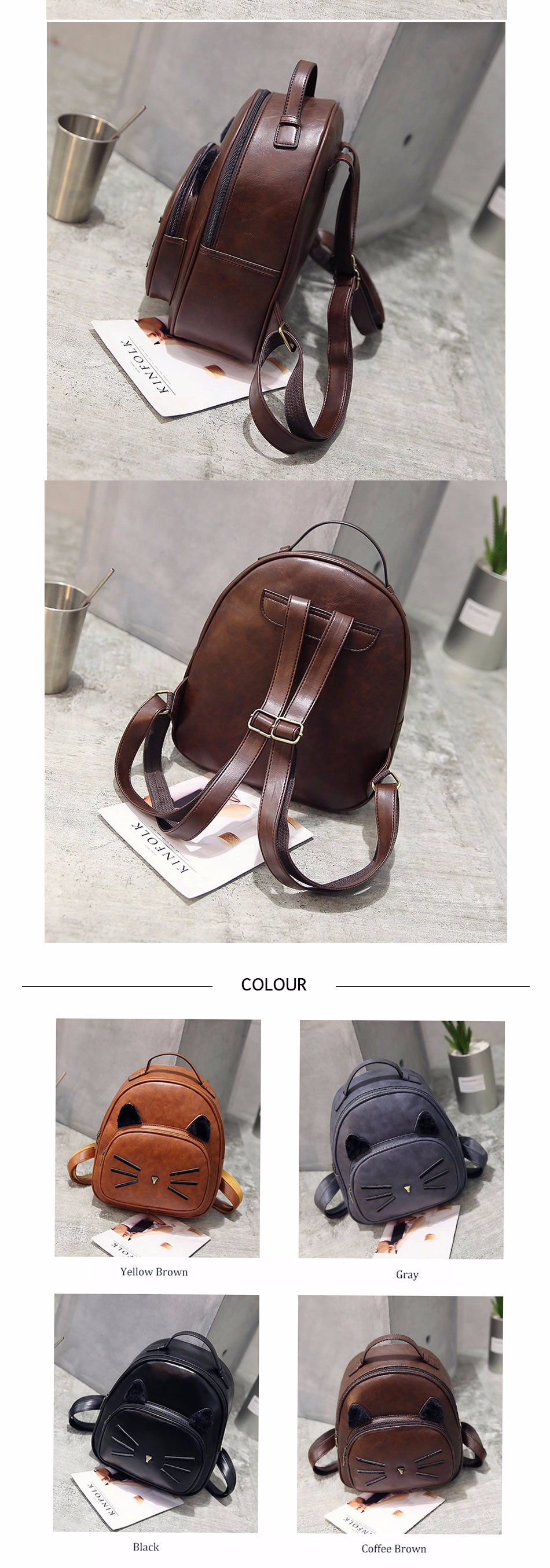 Cat Enthusiast Gift Leather Backpack