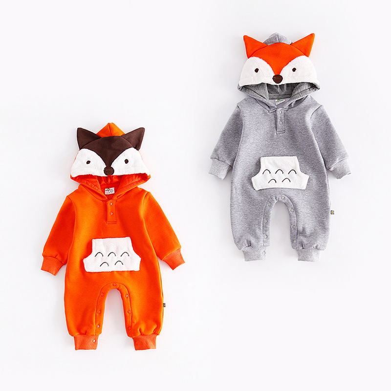 fox ears hoodie velvet thick romper onesie sleeper
