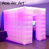 In store inflatable photo booth,led party station,selfie photo marquee with foldable curtain for delivery