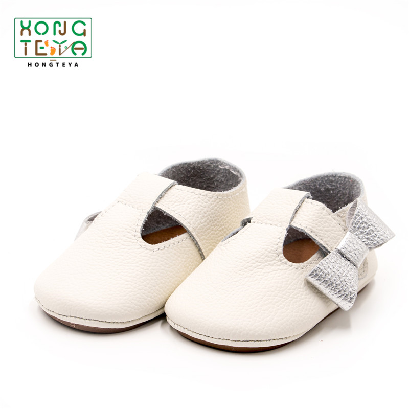 Genuine Leather Bow T-bar Newborn Moccasins Baby Shoes Cute Solid Hard Sole Anti-slip Infant Girls Shoes Princess Prewalkers