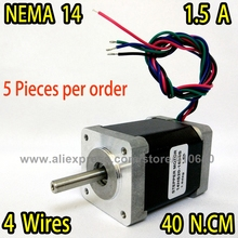 FREE SHIPPING 5 pieces per lot stepper motor 14HS20-1504S  L52mm  Nema14 with 1.8deg 1.5 A  40 N.cm with bipolar 4 lead wires
