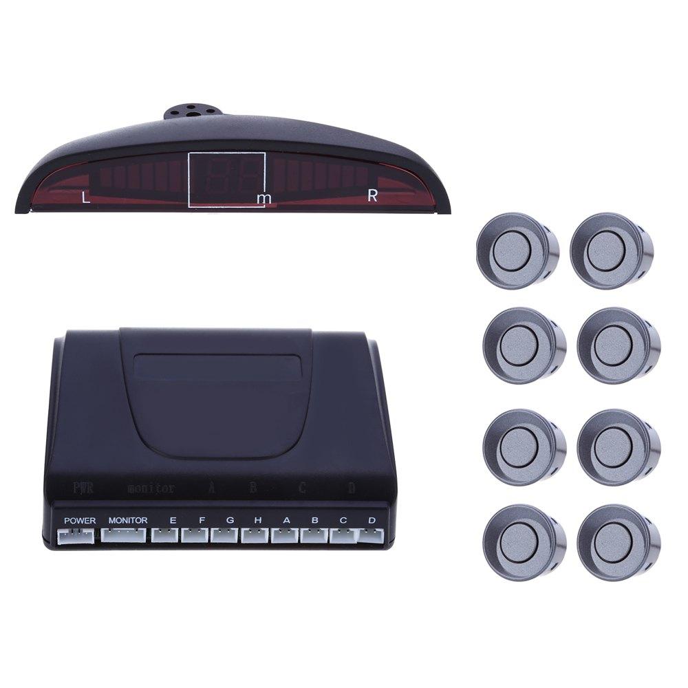 Prix pour 1 Set 8 Kit de Capteur de Stationnement De Voiture LED Affichage Arrière de Recul Système de sauvegarde Radar Alarme Double CPU Avancée Puce Avec Anglais voix