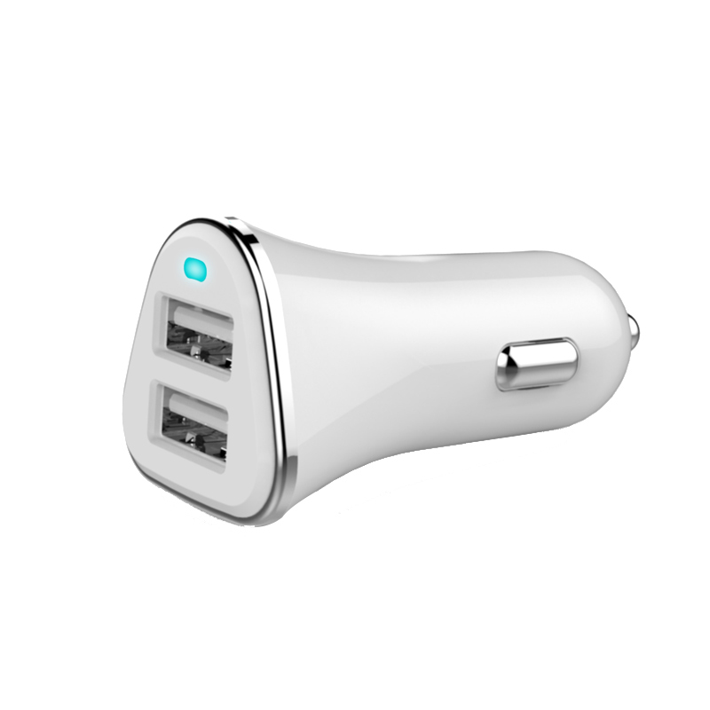 2.4A Fast Charging Dual USB Ports R44 Car Charger For Iphone 6 Tablets With ABS+PC Material Cigarette Lighter USB Car Charger