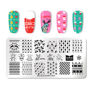Image 5 - NICOLE DIARY Christmas Halloween Nail Art Stamping Plate Snow Ghost Image Printing Template Festival New Year Nail Stamp Stencil