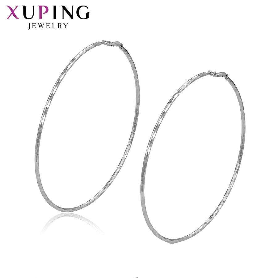 11,11 Deal Xuping Rhodium Farbe Überzogen Hoops Ohrringe Für Mädchen Umwelt Kupfer Klassische Schmuck Weihnachten Geschenk S126.2-97697 Creolen Ohrringe