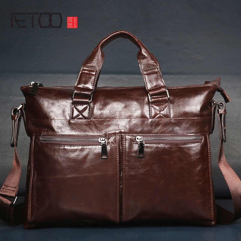 AETOO  New men's  first layer of leather men's handbag men's briefcase retro men's bag polo women golf club clothing bag handbag nylon first layer of leather