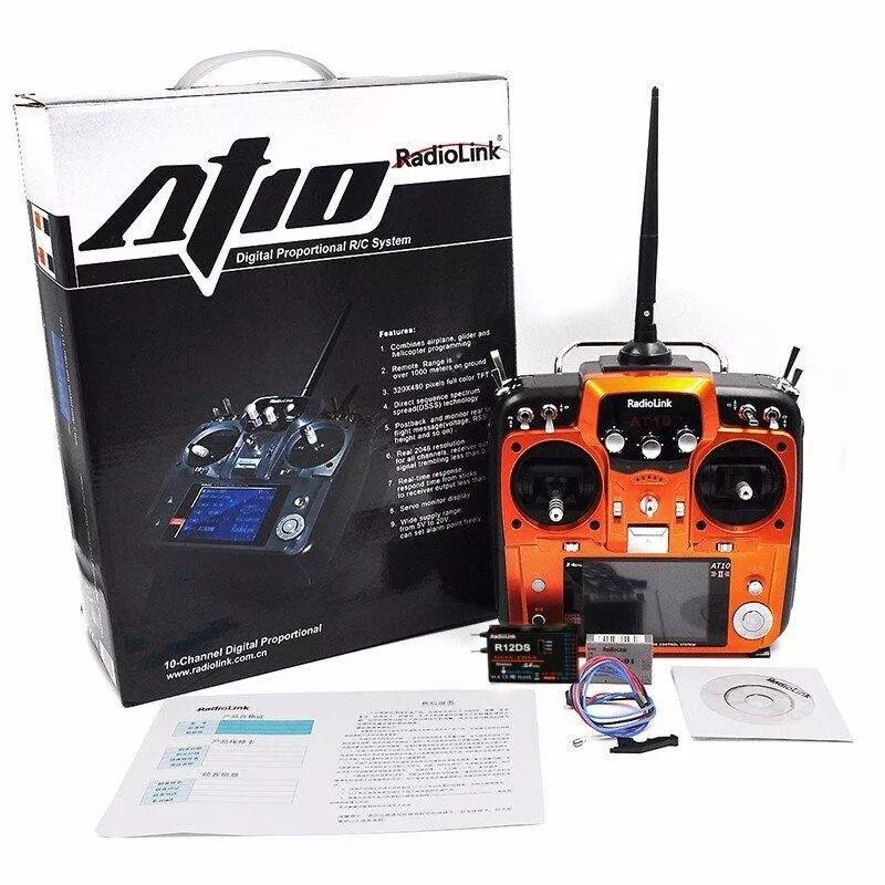 Oryginalny RadioLink AT10II AT10 II 2.4 Ghz 12CH pilot zdalnego sterowania zdalnego nadajnik z R12DS odbiornik RC zrobić Quadcopter w Części i akcesoria od Zabawki i hobby na  Grupa 2