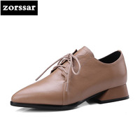 Zorssar 2018 New Fashion Womens Shoes Heels Lace Up Low Heel Pointed Toe Shoes Pumps