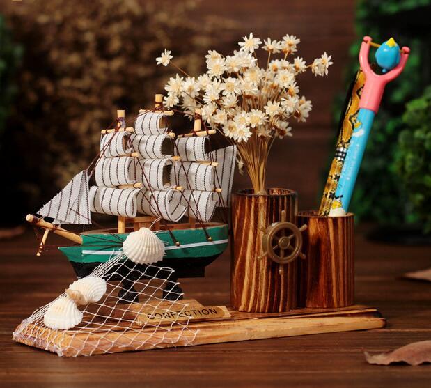 2017 Mediterranean style sailboat wooden ship model solid wood sailing model Marine Boat gifts Ship Nautical Decor Home Crafts