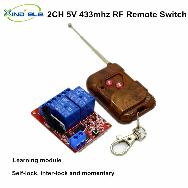 5V 2 Channel RF Wireless Remote Control Light Switch Receiver Relay Module 433MHz interruptor 5v 2 channel ir relay shield expansion board module for arduino with infrared remote controller