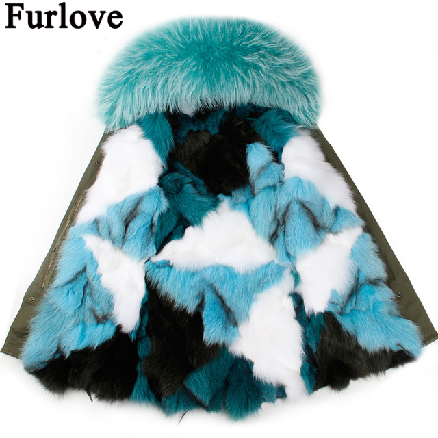 Furlove coat Women parka autumn Winter Jacket Raccoon Fur Collar Lady Parka women Real fox fur feminine Coat female