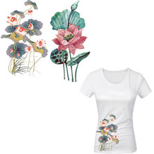 ink painting flowers ironing stickers lotus iron on patches for clothing girls patch heat transfer for t-shirt dress diy patch