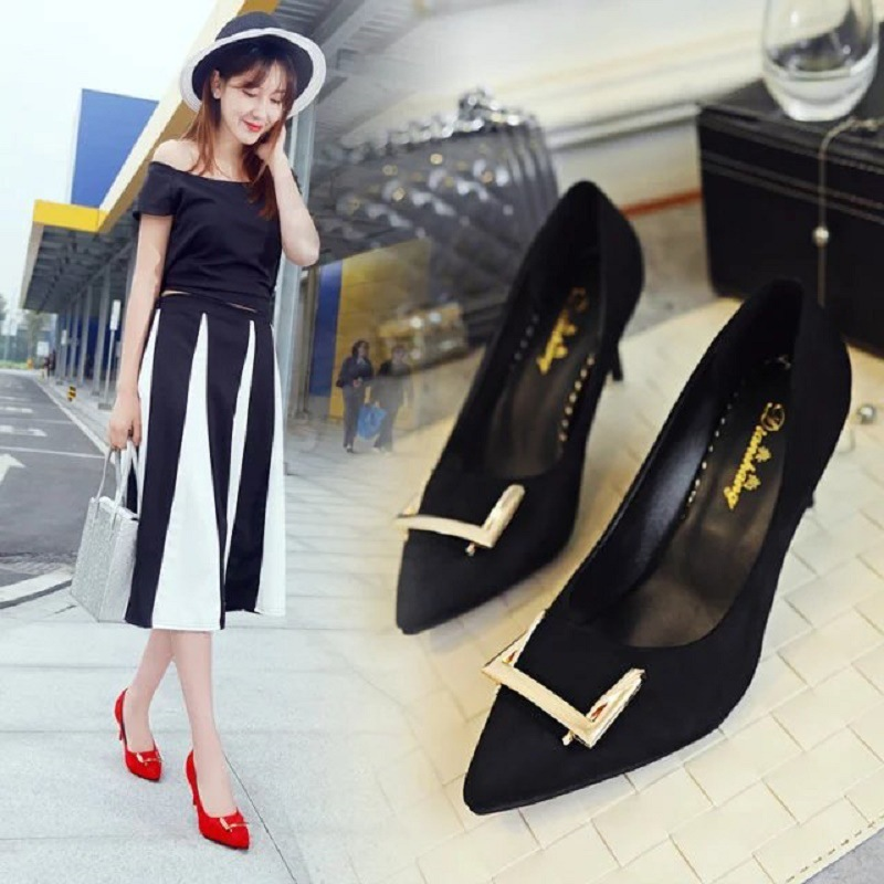 ФОТО  season temperament suede metal sexy slim with thin mouth single shoes fashion show thin high-heeled shoes wedding shoes