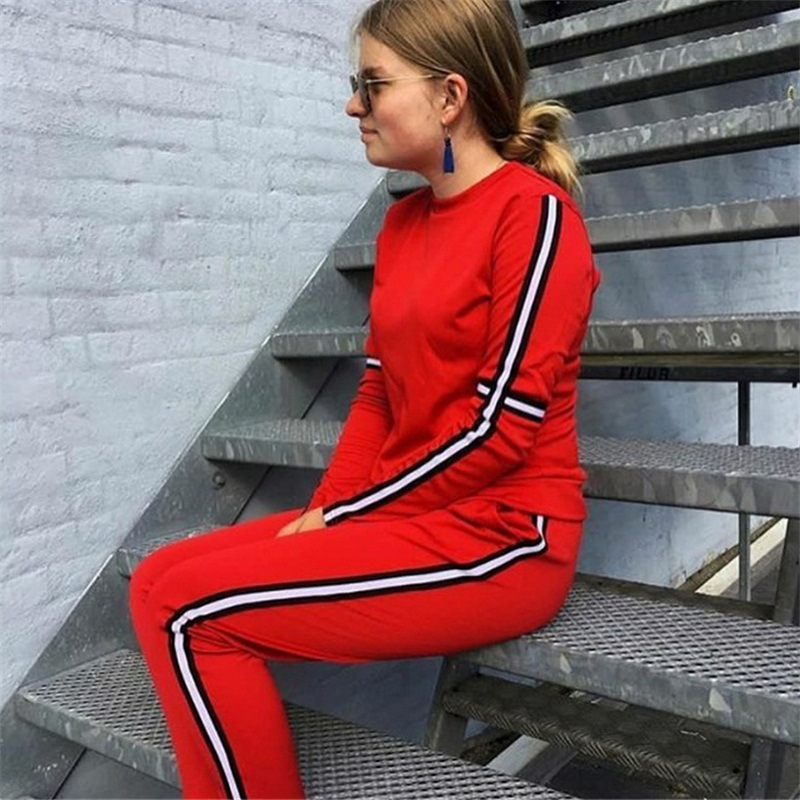 CWLSP Autumn Casual Side Striped Tracksuit for Women Skinny Patchwork 2 Pieces Sets Sportswear ropa deportiva mujer QL4142 8