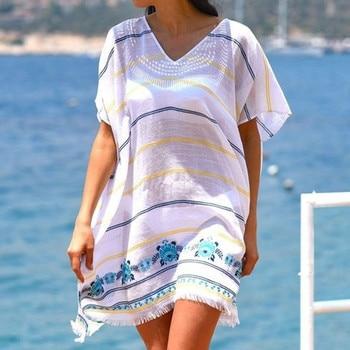 e36dea422e14 Mujer mujer blanco traje de baño cubrir traje de baño verano ropa de playa  Vestido de playa cuello en V encaje pulóver ropa de playa suelta W30424