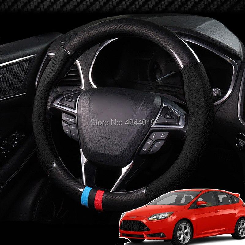 Pour Honda Fit diamètre 38 CM housse de volant anti-dérapant en Fiber de carbone haut en cuir Sport Style voiture accessoires