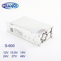 DIANQI switching power supply for LED Strip light S 600W 12V 13.5V 15V 24V 27V 36V 48V ac dc converter Single Output S 600 15