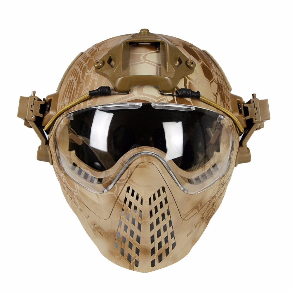 WoSporT Tactical Helmet with Mask Airsoft Paintball Overall Helmet CS Military WarGame Motorcycle Cycling Hunting Fast Helmet kryptek green pj type fast molle tactical helmet combined with full mask and goggles for airsoft paintball cs hunting