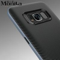 Monila 2 En 1 Souple En Silicone Cas de Téléphone portable pour Samsung Galaxy S8/S8 Plus Dur En Fiber De Carbone En Plastique de Couverture Arrière cas