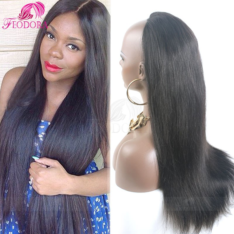 Half wig human hair extensions images hair extension hair silky straight human hair half wigs fashion 34 wig virgin silky straight human hair half wigs pmusecretfo Image collections
